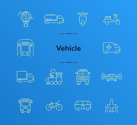 Vehicle line icon set. Pickup, van, train, bus. Transport concept. Can be used for topics like delivery, logistics, commuting, traffic