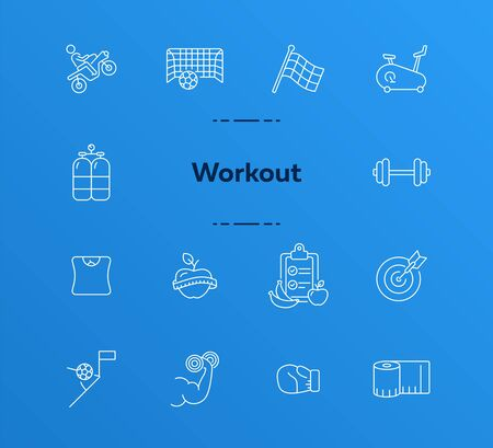 Workout line icon set. Game, sport equipment, diet. Healthy lifestyle concept. Can be used for topics like training, wellness, exercising