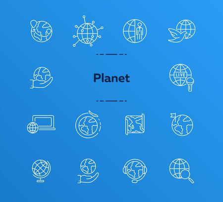 Planet line icon set. TV program, computer, map, globe. World concept. Can be used for topics like travel, broadcasting, news
