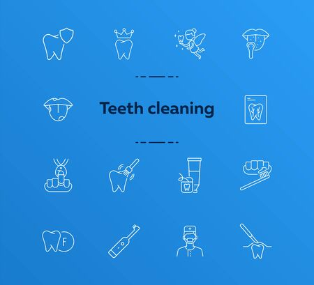 Teeth cleaning line icon set. Doctor, brush, toothpaste, fairy. Dental care concept. Can be used for topics like denture, dentist, pediatric dentistry Ilustração