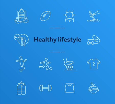 Healthy lifestyle line icon set. Soccer, diet, fitness. Sport concept. Can be used for topics like activity, wellness, lifestyle