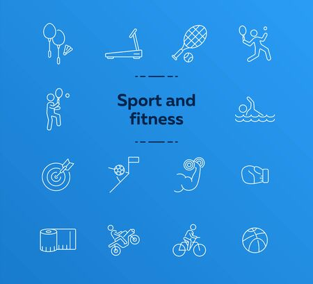 Sport and fitness line icon set. Cycling, tennis, game. Entertainment concept. Can be used for topics like physical activity, training, match Иллюстрация