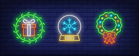 Merry Christmas neon sign collection. Crystal ball, Christmas wreath, gift box. Night bright advertisement. Vector illustration in neon style for banner, billboard