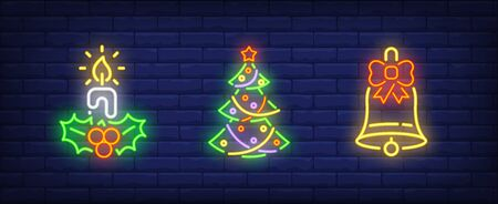 Christmas symbol set in neon style. Candle, Christmas tree, bell. Night bright advertisement. Vector illustration in neon style for banner, billboard