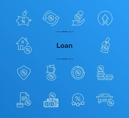 Loan icon set. Line icons collection on white background. Money, coin, percent. Credit concept. Can be used for topics like investment, deal, finances