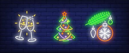 Happy New Year neon sign set. Glasses with champagne, Christmas tree, baubles. Night bright advertisement. Vector illustration in neon style for banner, billboard Illustration