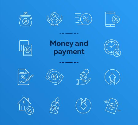 Money and payment icon set. Line icons collection on white background. Mortgage, payment, cash. Spending money concept. Can be used for topics like salary, banking, business