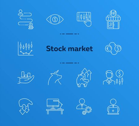 Stock market line icon set. Bull, asset, quotation. Economy concept. Can be used for topics like wall street, finances, business
