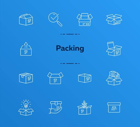 Packing line icon set. Delivery and packaging concept.Vector illustration can be used for topics like post office, courier, logistics