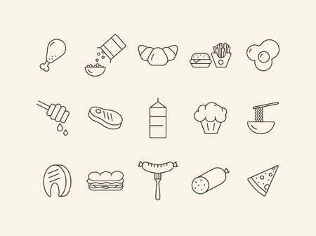 Food products line icons. Carton of milk, noodles, fast food. Food concept. Vector illustration can be used for topics like meals, eating, nourishment