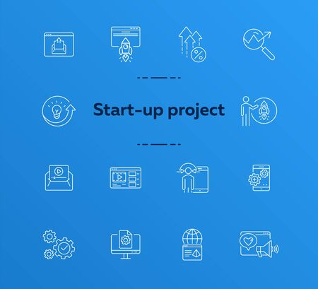 Start line icon set. Launch, gear, rocket, computer. Business concept. Can be used for topics like project, internet marketing, seo, startup 일러스트