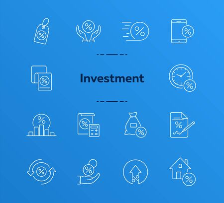 Investment icon set. Line icons collection on white background. Credit, loan, percent. Selling concept. Can be used for topics like money, finances, economy  イラスト・ベクター素材