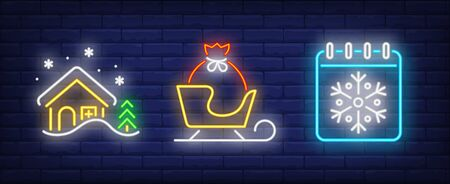 Xmas symbol neon sign collection. Winter house, sled, calendar. Night bright advertisement. Vector illustration in neon style for banner, billboard