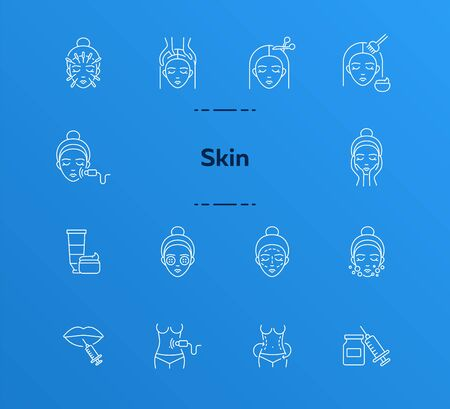 Skin icon set. Organic mask, weight loss, face, needle. Skin care concept. Can be used for topics like beauty or hairdressing salon, rejuvenation, beautician Archivio Fotografico - 130371094