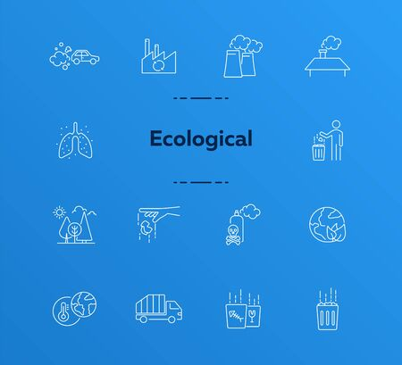 Ecological icons. Set of line icons. Air pollution, planet contamination, impact. Environment concept. Vector illustration can be used for topics like environment, nature, industry Illustration