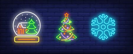 Winter holidays in neon style collection. Crystal ball, Christmas tree, snowflake. Night bright advertisement. Vector illustration in neon style for banner, billboard Illustration