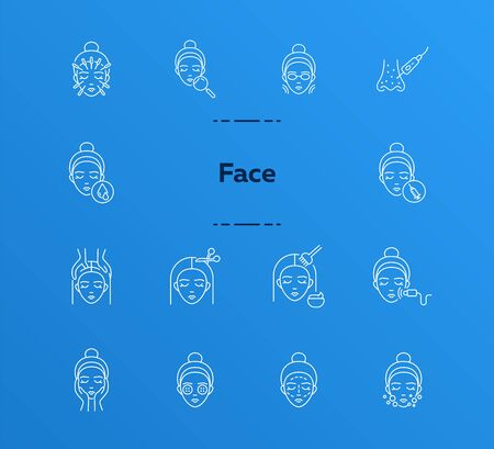 Face line icon set. Woman, female, head, massage, moistening, peeling. Beauty care concept. Can be used for topics like skin care, cosmetologist, dermatology Ilustração