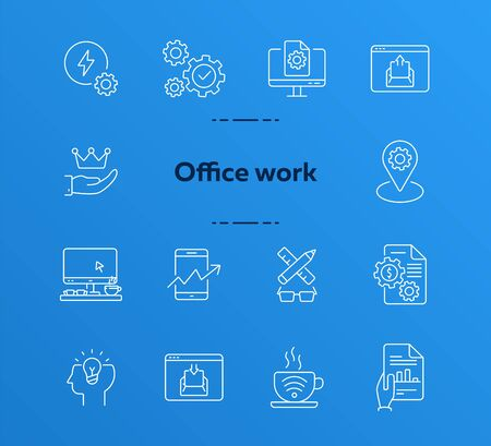 Office work icons. Set of line icons. Marketing planning, mobile business, online entertainment. Business process concept. Can be used for topics like business, technology, management