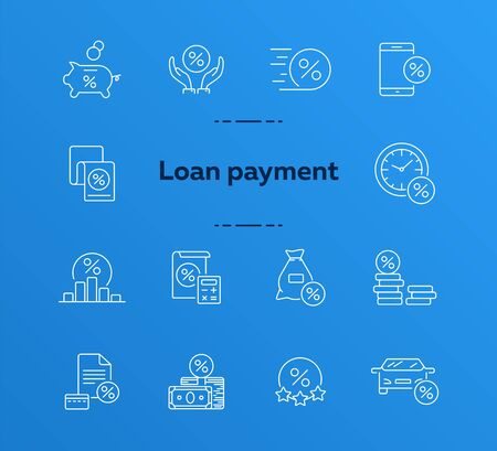 Loan payment icon set. Line icons collection on white background. Money, credit, percent. Investment concept. Can be used for topics like management, banking, loan  イラスト・ベクター素材