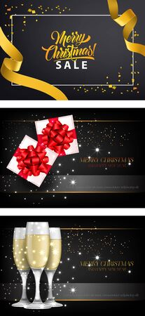 Merry Christmas sale banner set with decor on black ground. Decorative design can be used for invitations, post cards, announcements