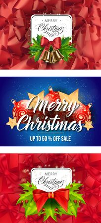 Christmas sale banner set with decor. Decorative design can be used for invitations, post cards, announcements