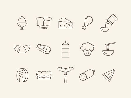 Eating line icons. Set of line icons. Sausage on fork, steak, slice of pizza. Food concept. Vector illustration can be used for topics like meals, eating, nourishment