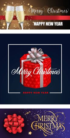 Merry Christmas banner set with gift and glasses. Decorative design can be used for invitations, post cards, announcements