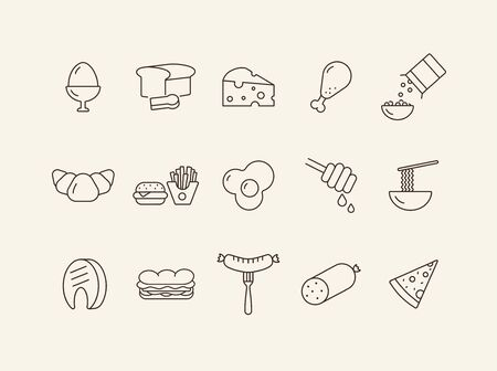 Meals line icon. Set of line icons. Sausage, bread, fried egg. Food concept. Vector illustration can be used for topics like meals, eating, nourishment