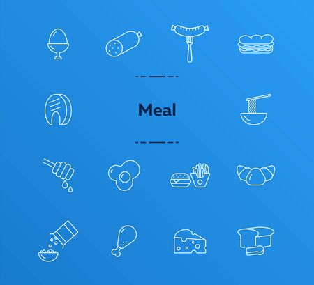 Meal line icon set. Sausage, eating, ingredient. Grocery concept. Can be used for topics like fast food, cooking, dinner