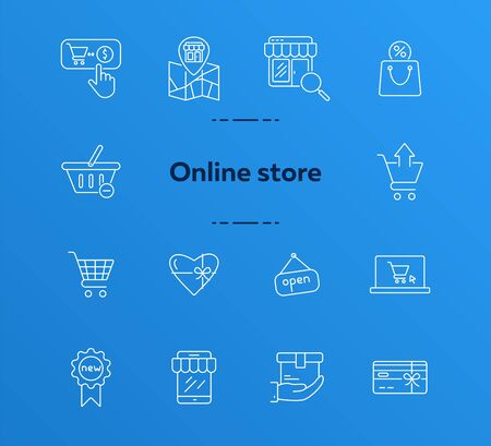 Online shop icon set. Store, selling, basket. Sale concept. Can be used for topics like shopping, e-commerce, retail  イラスト・ベクター素材