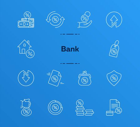 Banking icon set. Line icons collection on white background. Money, coin, cash. Finances concept. Can be used for topics like discount, payment, sale