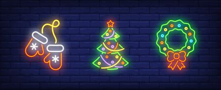 Merry Xmas neon sign set. Mittens, Christmas tree, Christmas wreath. Night bright advertisement. Vector illustration in neon style for banner, billboard Illustration