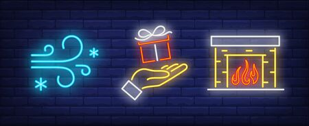 Xmas symbol neon sign set. Frost, gift box, fireplace. Night bright advertisement. Vector illustration in neon style for banner, billboard