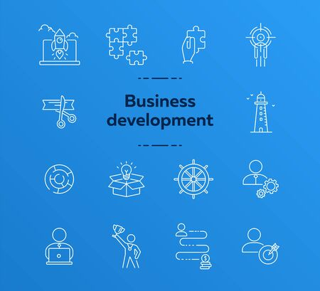 Business development icon set. Line icons collection on white background. Logic, efficiency, creativity. Innovation concept. Can be used for topics like management, strategy, solution 일러스트
