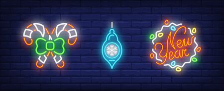 Christmas baubles set in neon style. Garland, candy cane, Christmas bauble. Night bright advertisement. Vector illustration in neon style for banner, billboard Illustration