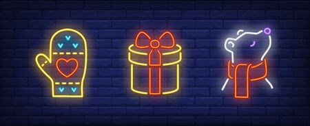 New Year in neon style set. Mitten, gift box, bear in scarf. Night bright advertisement. Vector illustration in neon style for banner, billboard
