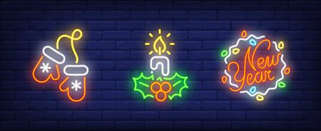 New Year neon sign collection. Candle, mittens, New Year. Night bright advertisement. Vector illustration in neon style for banner, billboard Illustration