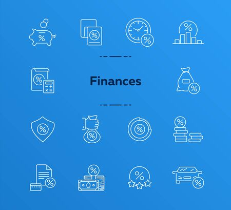 Finances icon set. Line icons collection on white background. Money, credit, sale. Savings concept. Can be used for topics like economy, loan, banking