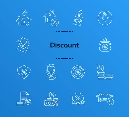 Discount icon set. Line icons collection on white background. Cash, salary, credit. Market concept. Can be used for topics like wealth, commerce, investment