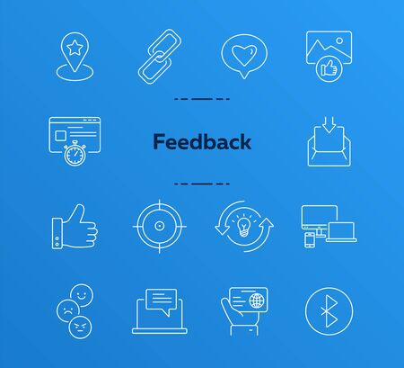 Feedback icons. Set of line icons. Customer feedback, good choice, like picture. Social networking concept. Vector illustration can be used for topics like communication, internet, rating 向量圖像