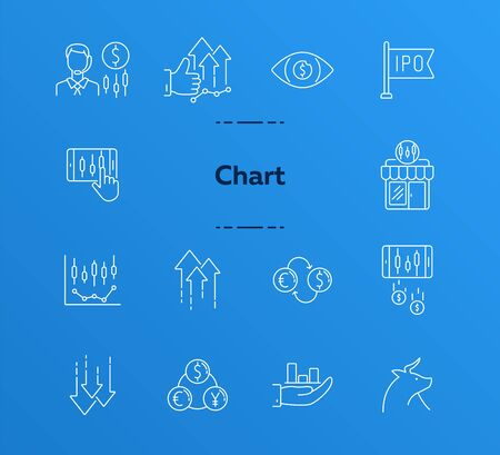 Chart line icon set. Profit, growth, ipo. Development concept. Can be used for topics like commerce, stock market, banking 向量圖像