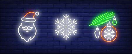 Winter holidays in neon style set. Santa, snowflake, fir. Night bright advertisement. Vector illustration in neon style for banner, billboard Illustration