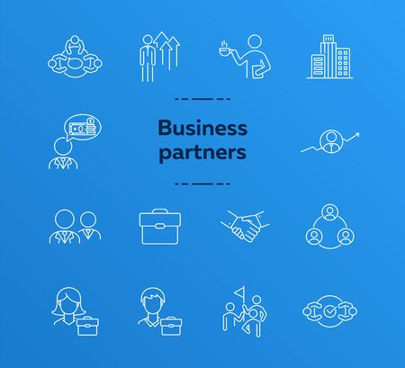 Business partners line icon set. Team, coworkers, handshake, meeting. Partnership concept. Can be used for topics like cooperation, collaboration, teamwork