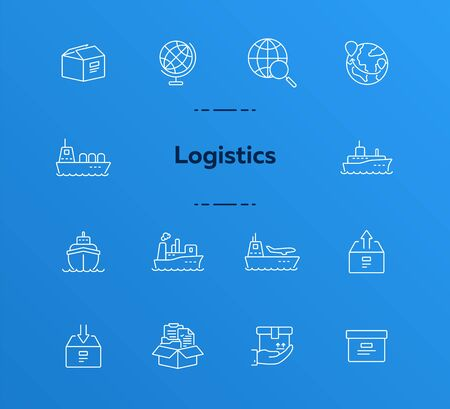 Logistics line icon set. Worlwide export and packaging concept.Vector illustration can be used for topics like marine, transportation, export Ilustração