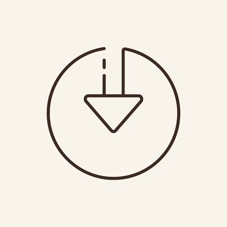 Down arrow in circle line icon. Direction, road sign, symbol. Arrow concept. Vector illustration can be used for topics like indication, pointing, designation