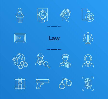 Conjunto de iconos de línea de ley. Oficial de policía, detective, juez, juzgado. Concepto de justicia. Puede usarse para temas como investigación, crimen, castigo.