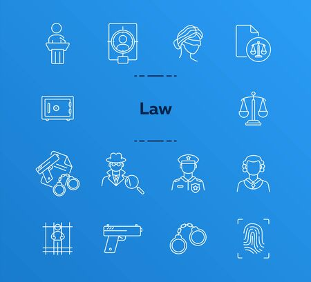 Law line icon set. Police officer, detective, judge, courthouse. Justice concept. Can be used for topics like investigation, crime, punishment
