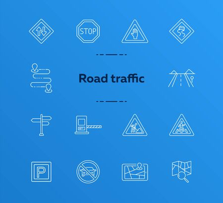 Road traffic icons. Set of line icons. Map with magnifying glass, mobile navigator, route. Traffic concept. Vector illustration can be used for topics like navigation, travelling