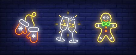 Happy New Year neon sign collection. Mittens, glasses with champagne, gingerbread man. Night bright advertisement. Vector illustration in neon style for banner, billboard