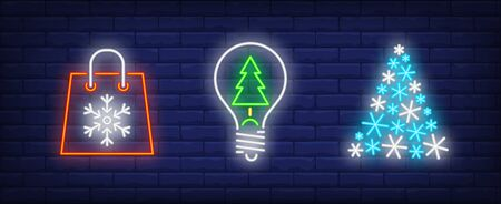 Happy New Year in neon style collection. Bag with snowflake, Christmas idea, Christmas tree. Night bright advertisement. Vector illustration in neon style for banner, billboard